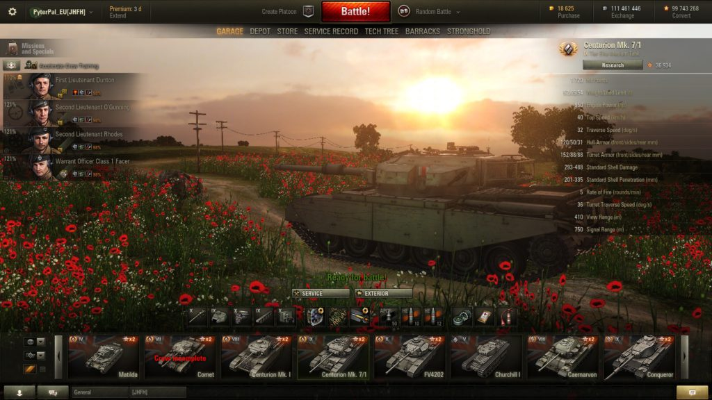 World of Tanks interface